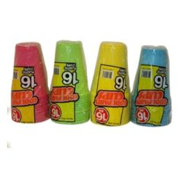 96 of 16 Piece Cup Assorted Colors 16oz