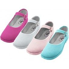 36 of Girl's Cotton Mary Jane Shoes Assorted Colors