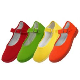 36 of Girls' Cotton Mary Jane Shoes Assorted Neon Color Only