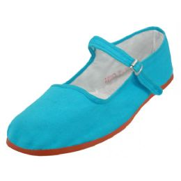 36 of Girl's Classic Cotton Mary Jane Shoes Turquoise Color Only
