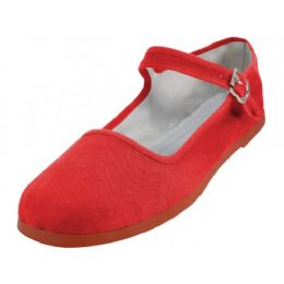 36 of Girl's Classic Cotton Mary Jane Shoes Red Color Only