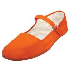 36 of Girl's Classic Cotton Mary Jane Shoes - Orange Color Only