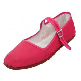36 of Girl's Classic Cotton Mary Jane Shoes Fuchsia Color Only