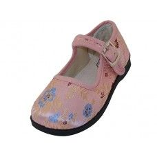 36 of Girls' Satin Brocade Plum Flower Upper Mary Janes Shoe - Pink Color Only