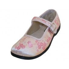 36 of Youth's Satin Brocade Plum Flower Upper Mary Janes Shoe Pink Color