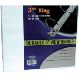 """8 of Binder - 3"""" - View Thru - Assorted Colors"""