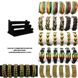 72 of Brac 011 Leather Bracelets 72 Pcs With Display