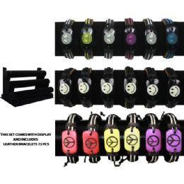 72 of Brac 010 Leather Bracelets 72 Pcs With Display