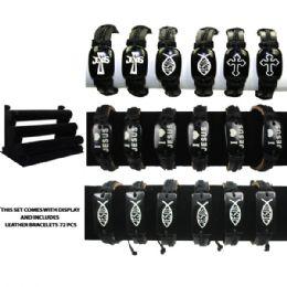 72 of Brac 008 Cross Leather Bracelets 72 Pcs With Display