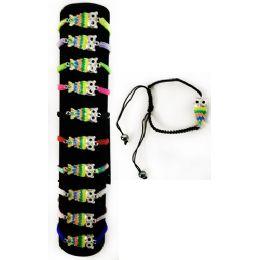 96 of Wholesale Rhinestone MultI-Color Owl Braided Bracelet Adjustable