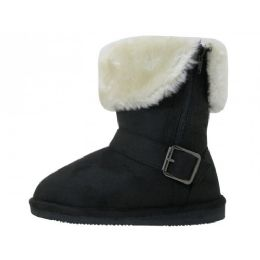 24 of Girl's 7 1/2 Inches Micro Suede Foldover Boots With Faux Fur Lining and Side Zipper (Black Color Only)