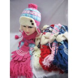 48 of Kids 3 Piece Winter Set - Hat Glove Scarf