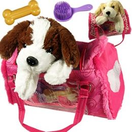 12 of Plush Puppies In Travleing Bags.