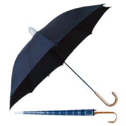 "48 of 21"" Long Black Umbrella With Wood U Shape Handle"