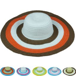 24 of Womans Summer Hat With Multi Colored Brim