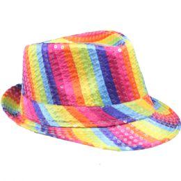 36 of Kids Rainbow Sequined Fedora Hat
