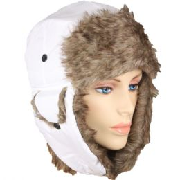 36 of Pilot Hat In White With Faux Fur Lining And Strap