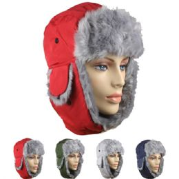 24 of Assorted Winter Pilot Hat With Faux Fur Lining And Strap
