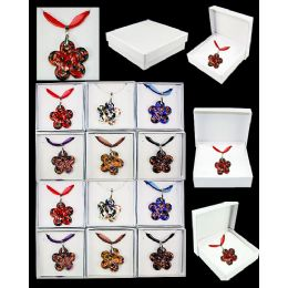 96 of Murano Glass Fashion Necklace Assorted Flowers