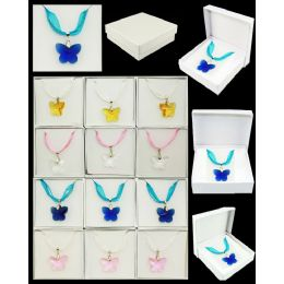 96 of Assorted Color Butterfly Murano Glass Necklaces