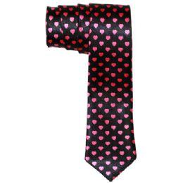 72 of Men's Black Slim Tie With Pens Black Slim Tie With Pink Hearts