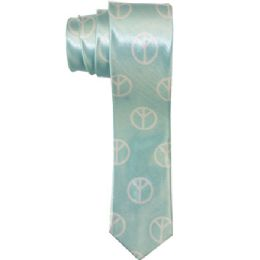 96 of Men's Slim Light Blue Tie With Peace Sign Print