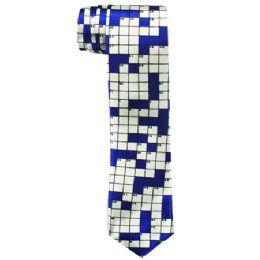 72 of Men's Slim Blue Tie With Checkerboard Print 104