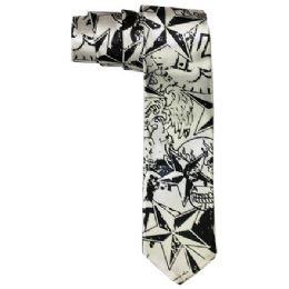 72 of Men's Slim Silver Tie With Pattern
