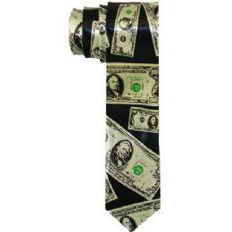 72 of Men's Slim Black Tie With Dollar Bill Print
