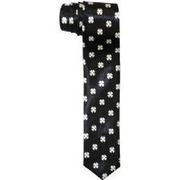 72 of Men's Slim Black Tie With Design