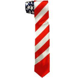48 of Men's Slim American Flag Tie