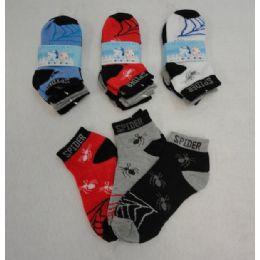 48 of 3pr Boy's Anklet Socks 4-6 [spider]