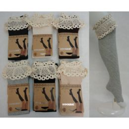 48 of Boot Socks-Diagonal Ribbing Wide Antique Lace