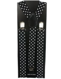 12 of Kids Black Suspenders With White Dots