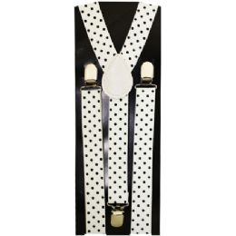48 of Kids White Suspenders With Black Dots