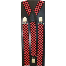 48 of Kids Red And Black Checker Print Suspenders