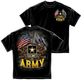 12 of T-Shirt 001 Double Flag Us Army Black Small Size