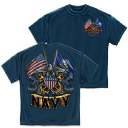 10 of T-Shirt 005 Double Flag Eagle Shield Navy Blue Small Size