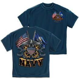 10 of T-Shirt 006 Double Flag Eagle Shield Navy Blue Medium Size