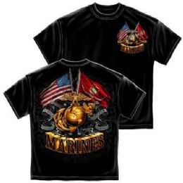 6 of T-Shirt 013 Double Flag Gold Globe Marine Corps Small Size