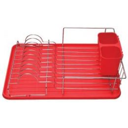 6 of Deluxe Chrome Dish Drainer Red