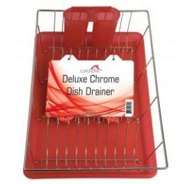 """6 of Deluxe Chrome Dish Drainer - Red 19"""" X 12"""" X 3.5"""""""