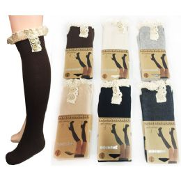 24 of Wholesale Long Over The Knee Stocking Button Lace Trim Assorted
