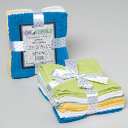 24 of Wash Cloths 6pk 12 X 12 Ribbed/ Popcorn W/ribbon Tie Asst Colors See n2