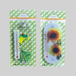 36 of Thermometer Window 2ast Print W/ Suction Cups 3.5x7.87 L&g Blc Frog/flower