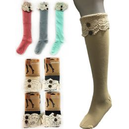 12 of Wholesale Solid Color Knee High Stocking With Lace With Buttons
