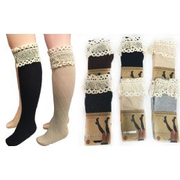 12 of Wholesale Long Over The Knee Stocking With Lace Trim Assorted