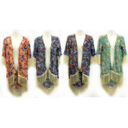 12 of Multicolor Flower Print Coverup With Fringes