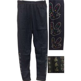 12 of Dark Jean Colored Kids Leggings With Decors