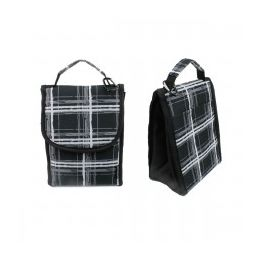 """24 of 10"""" Insulated Lunch Bag In A Black Plaid Print"""